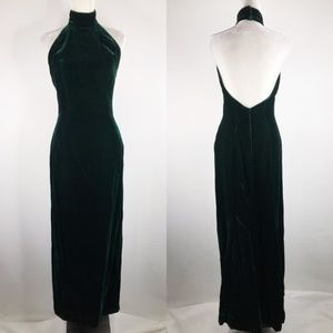 Victor Costa Vintage Green Velvet Maxi Gown Small